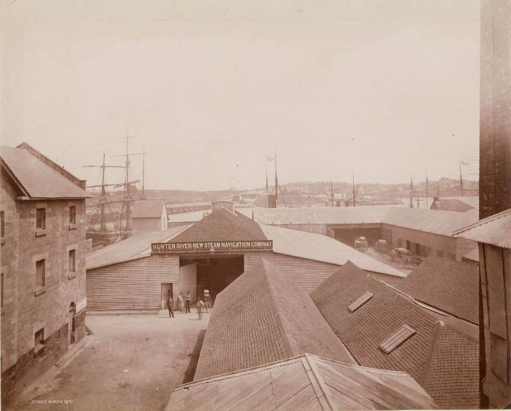 The new Hunter River steam navigation Co warehouse, Wharf Street, Newcastle, New South Wales in 1871. v@e.