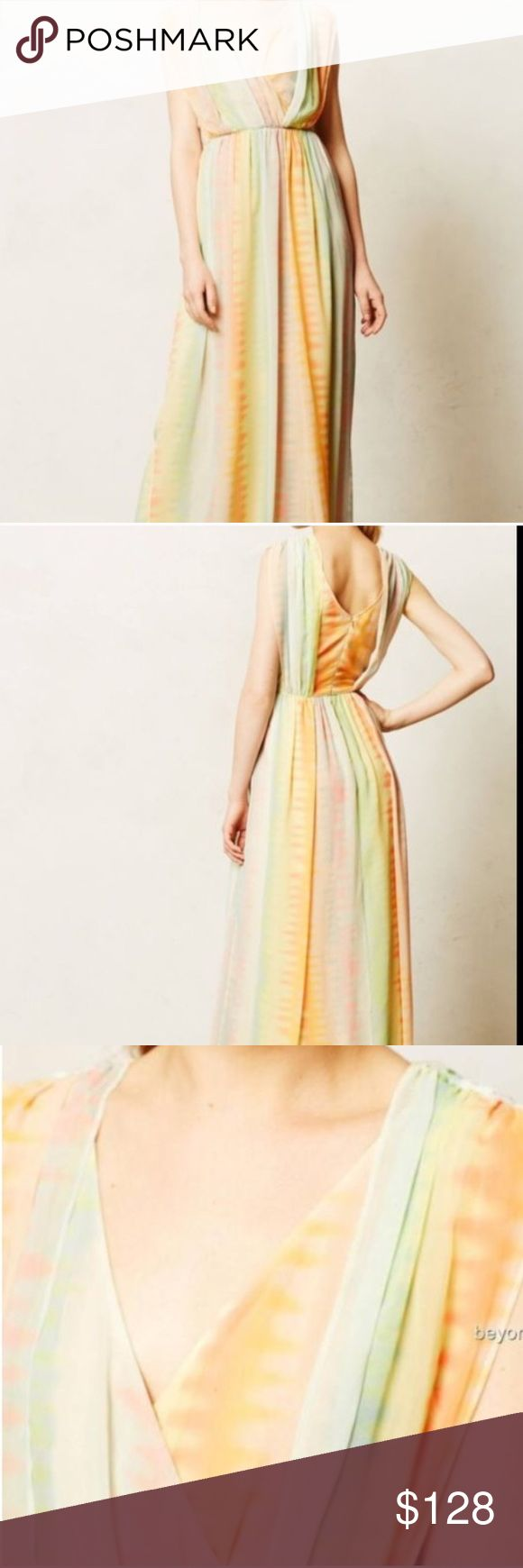Anthropologie pastel maxi dress Anthropologie pastel maxi dress. Perfect for a wedding or event. Anthropologie Dresses Maxi