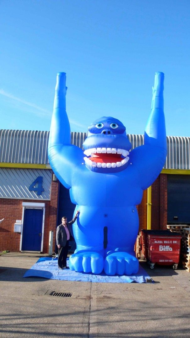 We love this giant #inflatable blue gorilla. Here is Kevin modelling next to it. As you can see it is huge!!