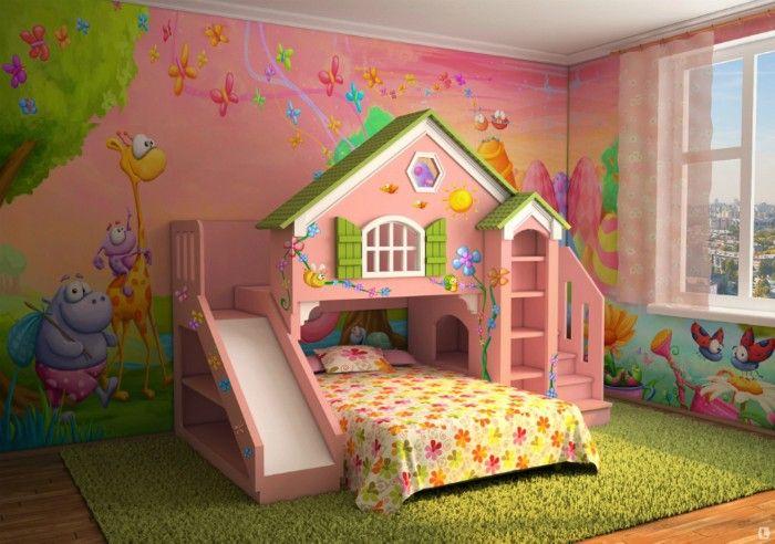 Идеи для обустройства детской комнаты: 3. Сказочная комната. Комната, оформленная в розовых тонах с небольшим игровым домиком.