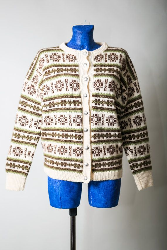 Ivory and Brown Nordic sweater / Norwegian Unisex Woman Men cardigan / Ethnic Ornament Button up Winter Wool jumper / Size Medium