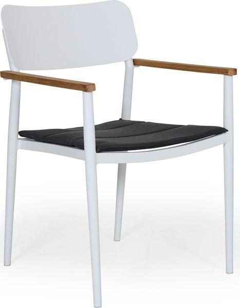 DOMINGO Stol karmstol teak/aluminium vit m dyna