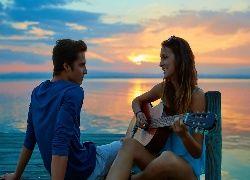 Dziewczyna, Chłopak, Molo, Morze, Gitara, Zachód, Słońca