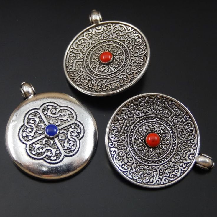6pcs/lot Trendy Antique Silver Alloy Round Charms Necklace Pendant Jewelry Making Vintage Style Handmade Crafts 26*24*4mm 50093
