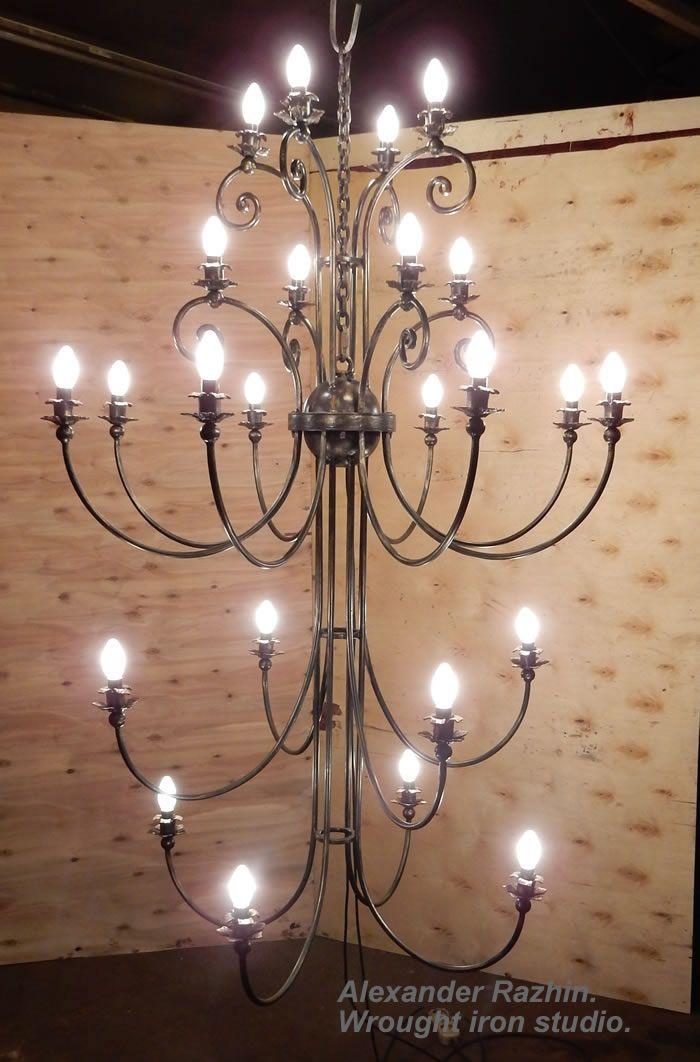 Wrought iron chandelier. 24 bulbs.
