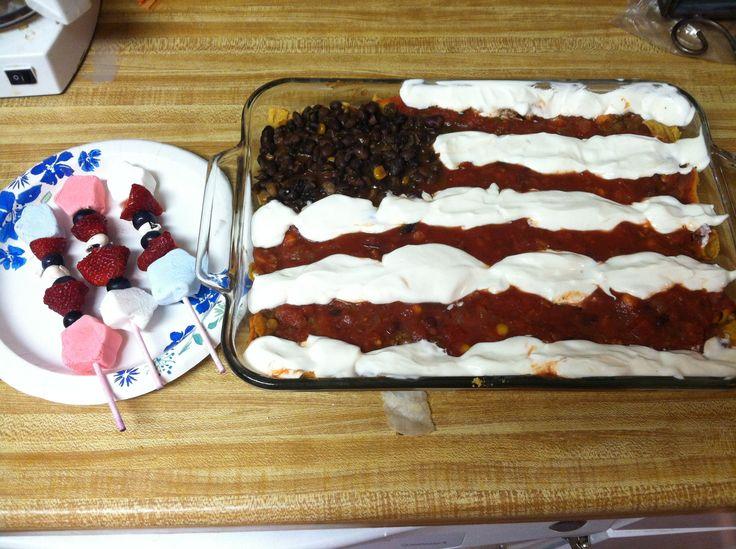 flag taco dip: corn chips, beans, meat w/seasoning, salsa sour cream ...