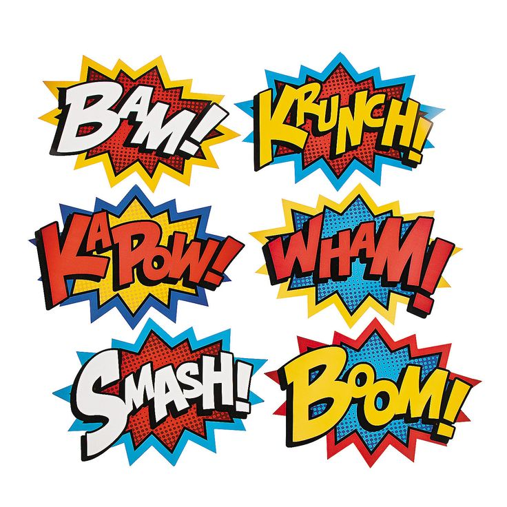 """Superhero Word Cutouts - hang from ceiling from fishing line.  These ones from Oriental Trading are quite large (18"""" - 24"""")."""