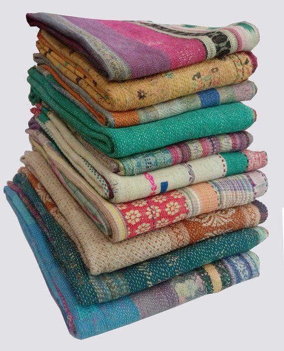 Indian Wholesale Handmade Bedding GUDARI Lot Handstiched Old Vintage Kantha Quilt