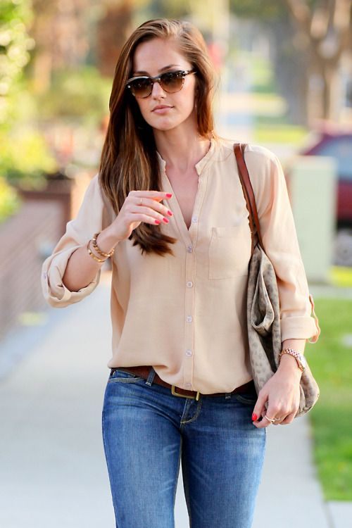 A neutral blouse is polished & classic but stays casual with denim. (Minka Kelly)