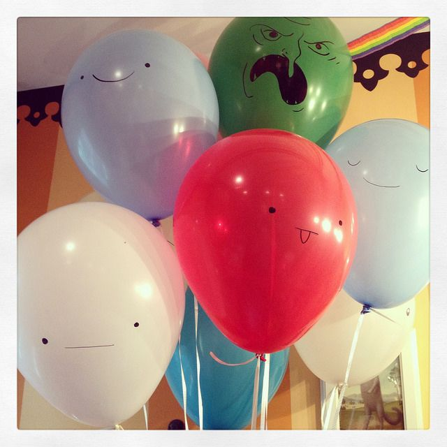Balloons at our Adventure Time party!