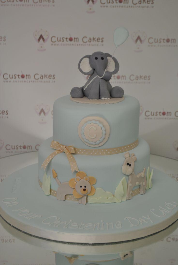 christening cake w/ elephant topper.