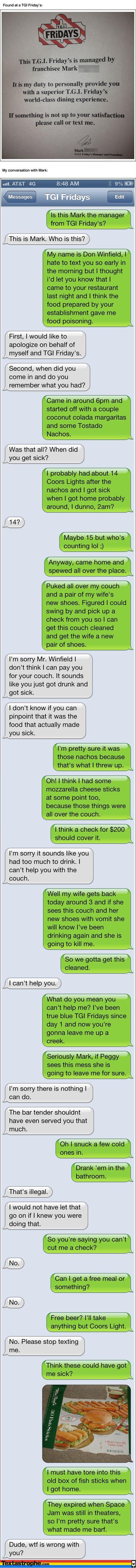 Textastrophe: TGI Friday's text, lol!! 14?: Killed Me Lol, Texting Pranks, Epic Texting, Funny Stuff, Text Messages, Text Pranks, So Funny