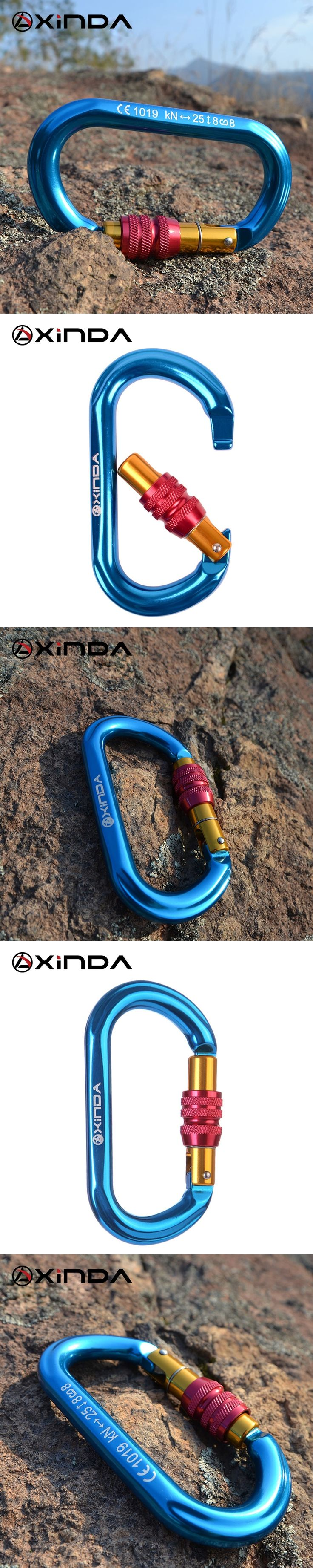 XINDA Professional Outdoor Rock Climbing 25KN Tension Safety Carabiner Buckle Lock Climbing Rock Climbing Equipment Survival Kit