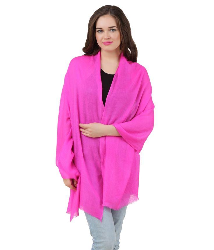 Crafto Pink Pashmina Casual Stole