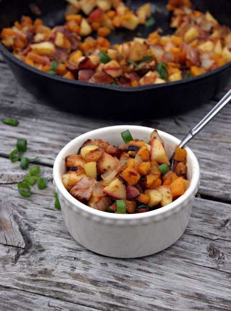 Apple, Butternut Squash & Bacon (or Pecan) Breakfast Hash. We used apples, potatoes, ground turkey with italian sausage seasonings, and the squash, it was a nice change from eggs for breakfast and really hearty. Autoimmune friendly.