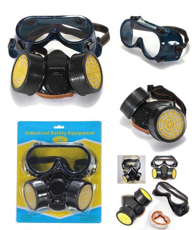 [Visit to Buy] Dual Anti-Dust Spray Paint Industrial Chemical Gas Respirator Mask Glasses Set Black NEW  High Quality #Advertisement