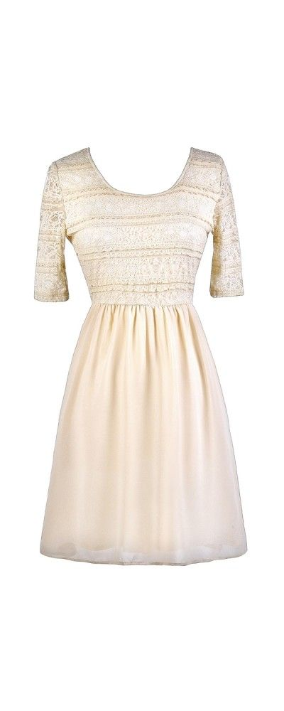 Lily Boutique Chrissy Lace and Chiffon Dress in Cream , $45