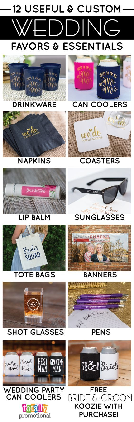 Create an unforgettable wedding with our custom but yet useful wedding favors & essentials! We carry all of the trending wedding colors & styles of can coolers, drinkware, sunglasses, coasters, napkins & more! Receive a FREE bride & groom can cooler with ANY order!