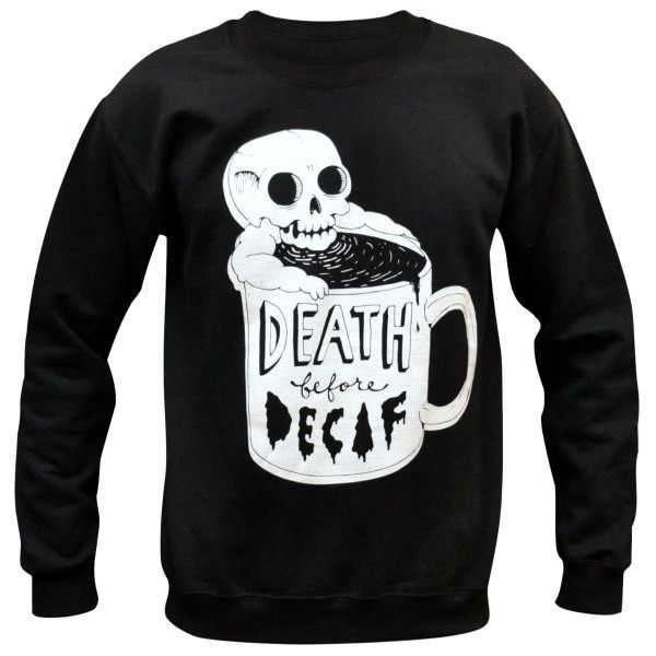 Sweaters are unisex, women may want to order a size down. Printed on Gildan black sweaters.