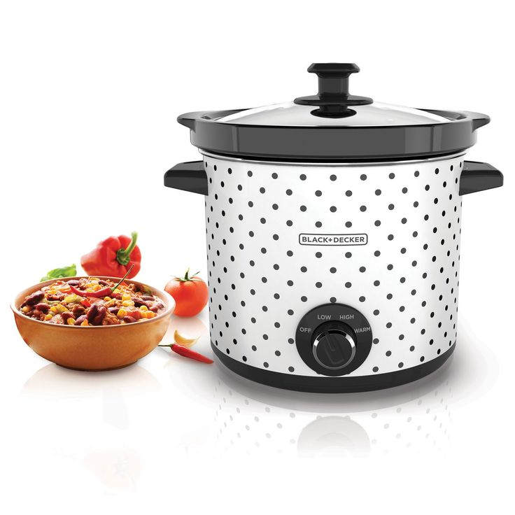 Black & Decker 4 Quart Stoneware Slow Cooker with Lid Hanger allows the lid to hang off the handles or crock keeping countertops clean; Easy to use dial has three heat settings to fit all your cooking
