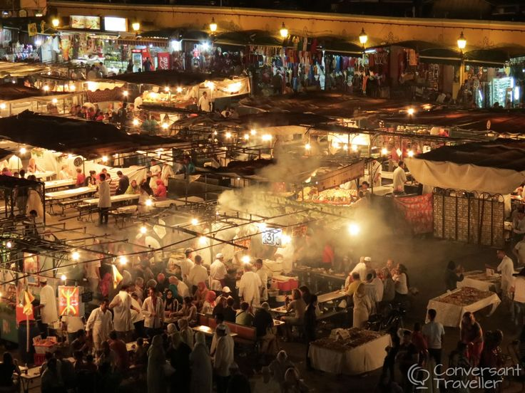 Night market in Djemaa el Fna, Marrakech.  This is a spectacle to see as well as a great place to eat. With its barbeque cuisine (everything from sheeps eyeballs to chicken kebabs) and cheerful touts it's the place to be if you want to share your table with a local and experience a different way to eat dinner.
