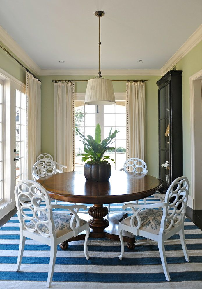 Round Pedestal Dining Table In Room Eclectic With Blue And White Striped Rug Area