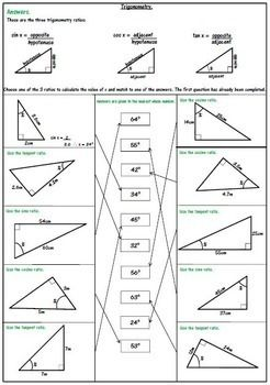 Right Triangle Trigonometry Worksheets: SOH CAH TOA