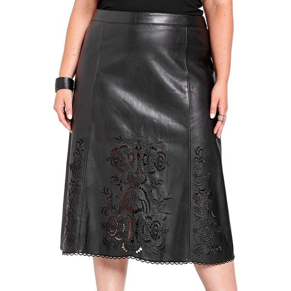Addition Elle Michel Studio Pleather Embroidered Skirt ($41) ❤ liked on Polyvore featuring skirts, black, embroidered skirt, leatherette skirt, embellished skirts, cut out skirt and scallop hem skirt