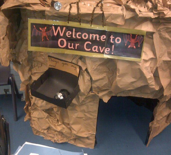 Cave role-play area classroom display photo - SparkleBox