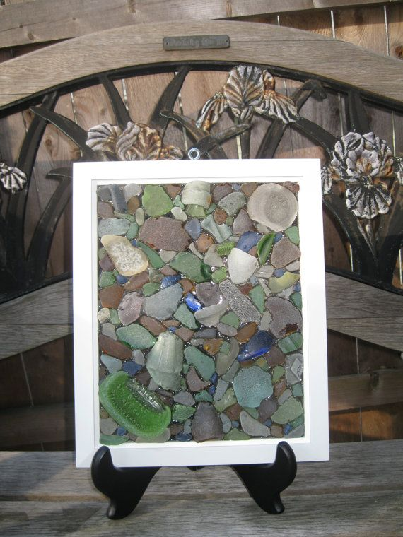 Large Sea Glass Mosaic by bmcseaglasscreations on Etsy, $45.00