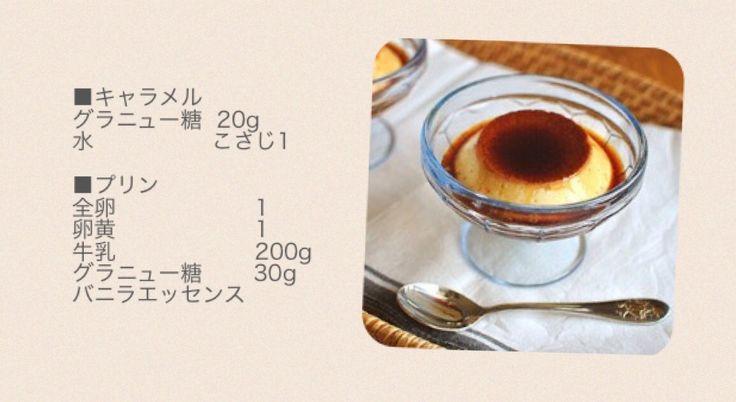 カラメルを作り、皿に入れる。卵をほぐしグラニュー糖をいれ、沸騰直前まで温めた牛乳を混ぜる。液をこして蒸す