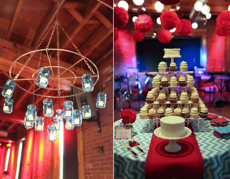 red and turquoise wedding.  Mavris Indianapolis.  turquoise chevron tablecloth.  mason ball jar chandelier