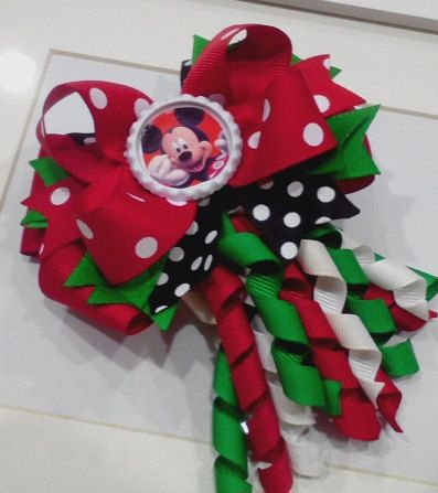 Christmas - Mickey - Minnie Mouse Hair Bow. $8.95, via Etsy.