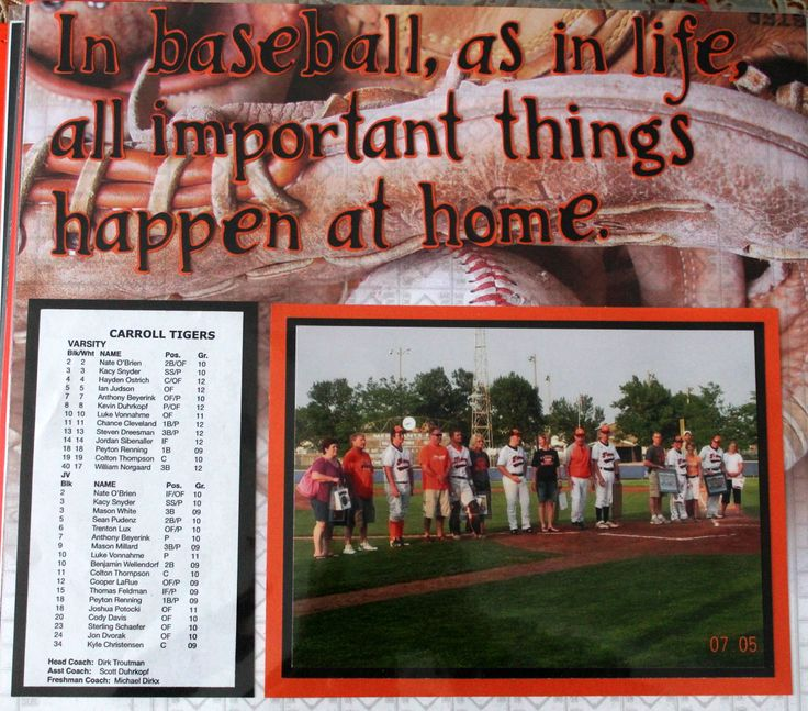 Jermyn Baseball And Softball Home: Baseball Scrapbook Layout. All Important Things Happen At