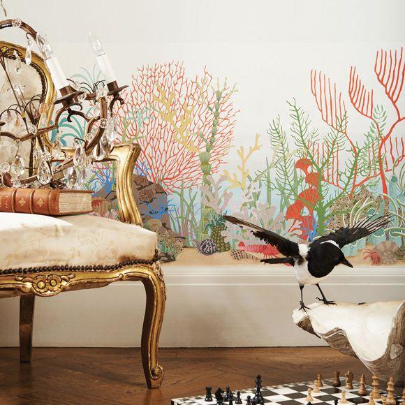 """Frise papier peint multicolore """"Archipelago Border"""" de la collection Whimsical de Cole and Son. Ce papier peint représente les fonds marins et leurs coraux."""