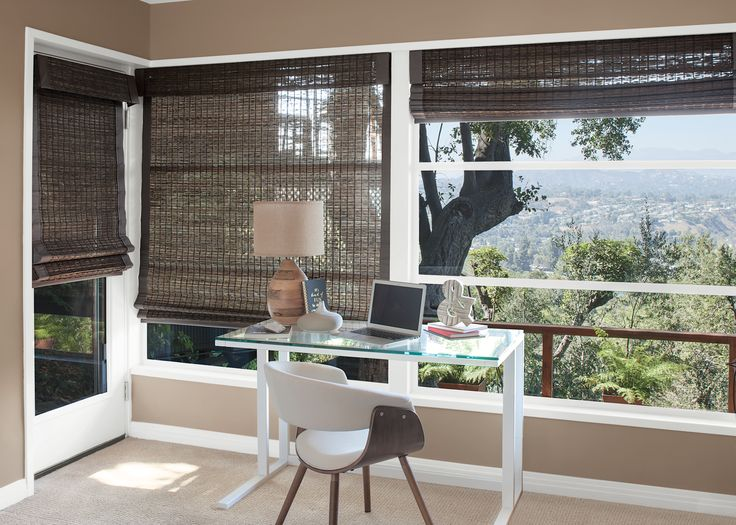 Natural Woven Shades   Adding A Sense Of Nature To This Home Office.  #naturalwovenshades