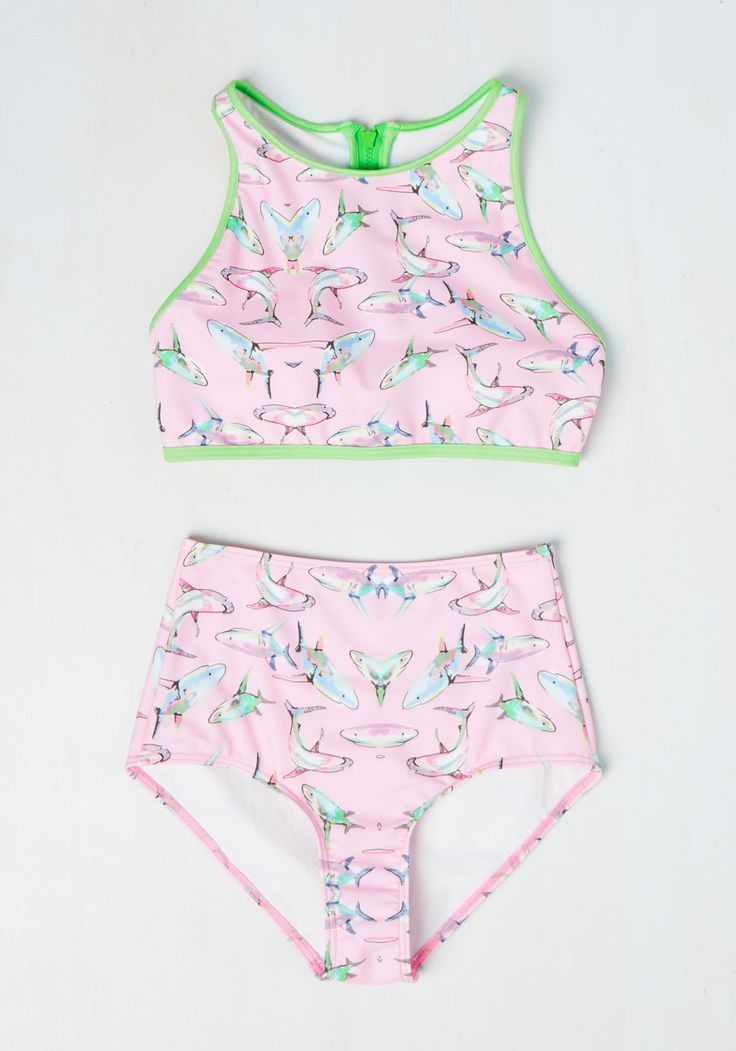You're as hip to the music 'sea-n' as you are to style, so press play on this printed swimsuit and jam to your beach playlist. A High-Dive by ModCloth look with lime green trim, a sporty, zippered racerback, and a colorful collection of sharks, this pastel pink swim top keeps up with your allegro tempo!