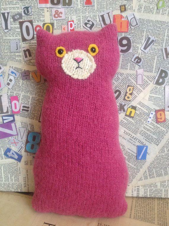 Flat Cat soft toy handmade recycled woollen kitten  by raggyrat #Dorsetteam