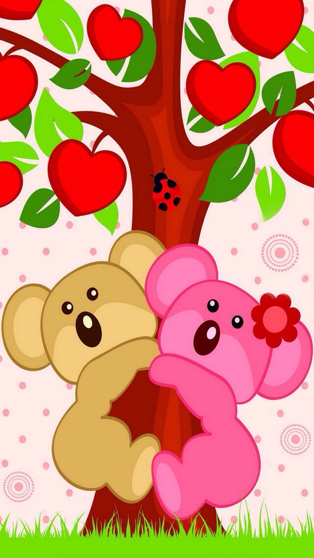 CUTE BEARS IN APPLE TREE IPHONE MOBILE CELL PHONE WALLPAPER BACKGROUND