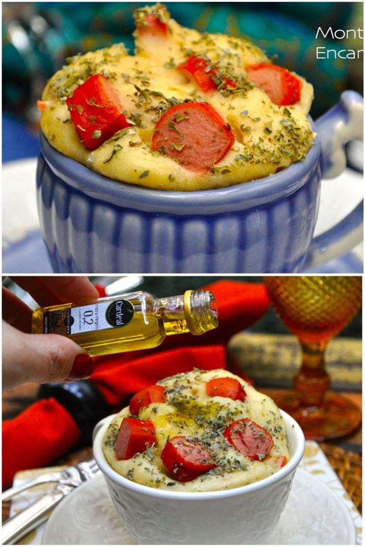 Muffin de Salsicha, salgado na caneca, deliciosa opção de jantar, só para mim, individual, pronto em minutos