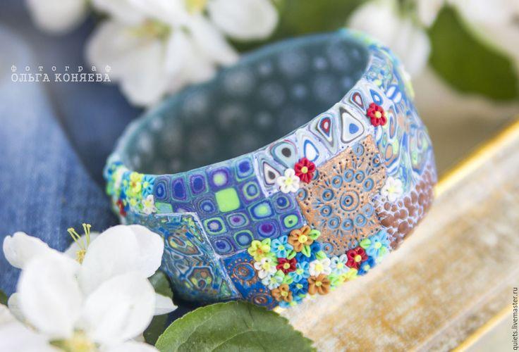 Купить Лето джинсового цвета-широкий синий браслет из полимерной глины - синий браслет
