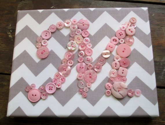 Baby Girl Nursery Pink Button Letter 'M' Monogram on Gray White Chevron, READY TO SHIP 8''x10'' Canvas, Children Wall Art, Button Art