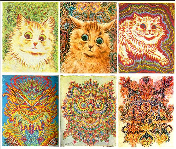 Regan Edonmi  These are some of the drawings from the artist Louis Wain, which he drew in succession as he entered into schizophrenia. This relates to psychological research methods because through his art, psychologist can study how Wain's psychological condition worsened.