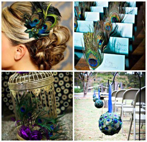 Plush Peacock Inspiration on itsabrideslife.com/Peacock Wedding Ideas