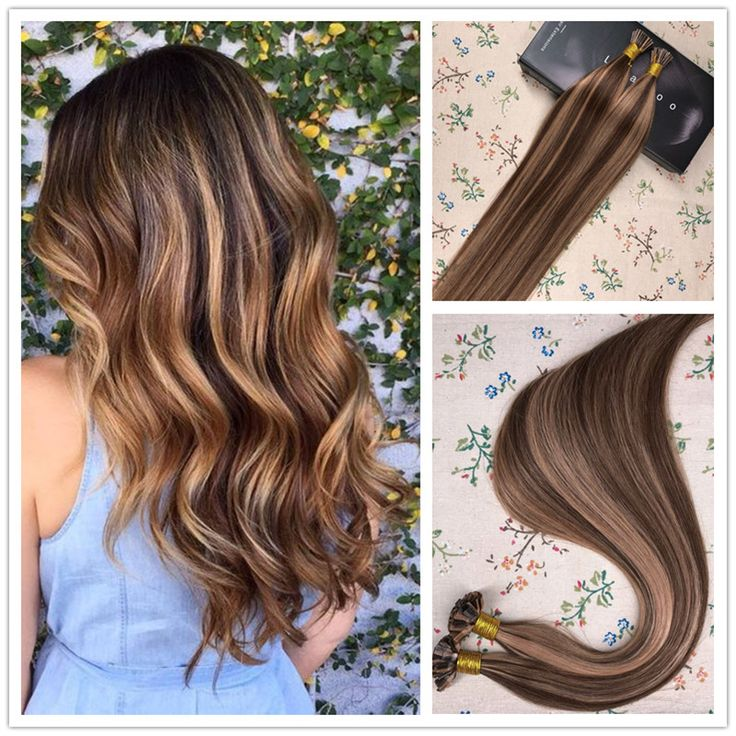 Flat Tip Pre Bonded Keratin Fusion Remy Human Hair Extensions Brown Highlighted With Caramel Blonde #P4/27 1g/S 50g Per Pack