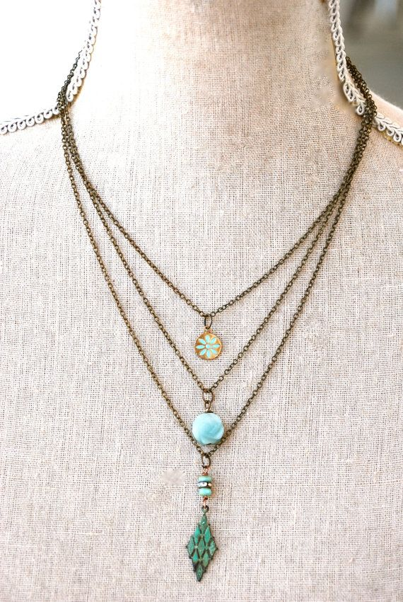 Serena. Bohemian layered charm necklace. by tiedupmemories on Etsy, $36.00