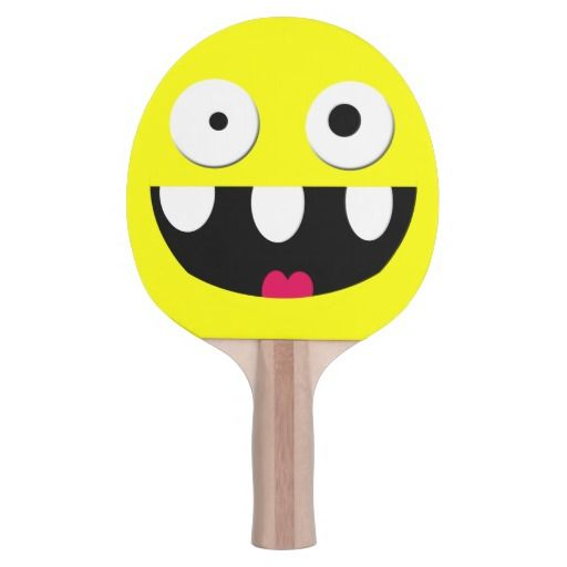 funny silly cartoon smiley face ping pong paddle