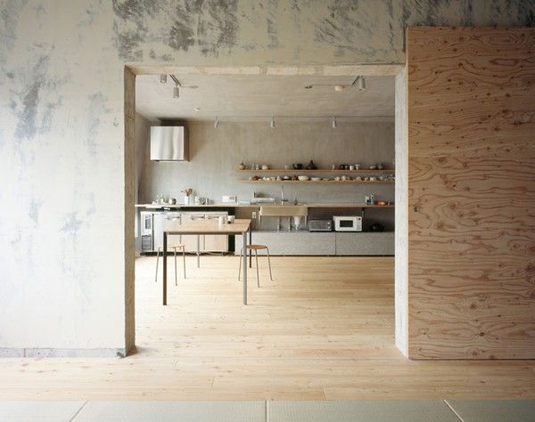 light wood floors, concrete walls...Japanese architects Jun Inokuma of Naruse Inokuma and Hiroko Karibe