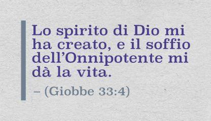 Lo spirito di Dio mi ha creato, e il soffio dell'Onnipotente mi dà la vita. (Giobbe 33:4)