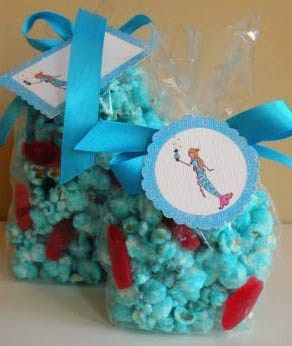 "snacks- mermaid popcorn...blue ""white"" chocolate popcorn with swedish fish"